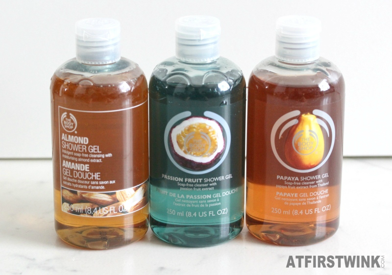 the body shop almond passion fruit papaya shower gels