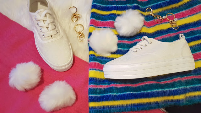 use white pom keychains to diy pom pom sneakers
