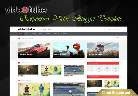VideoTube Responsive Video Blogger Template Preview