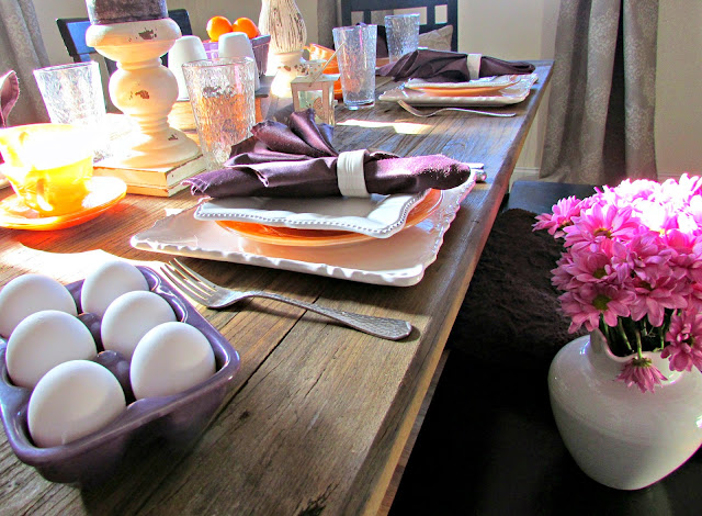 Breakfast Table Setting using Bright Spring Colors