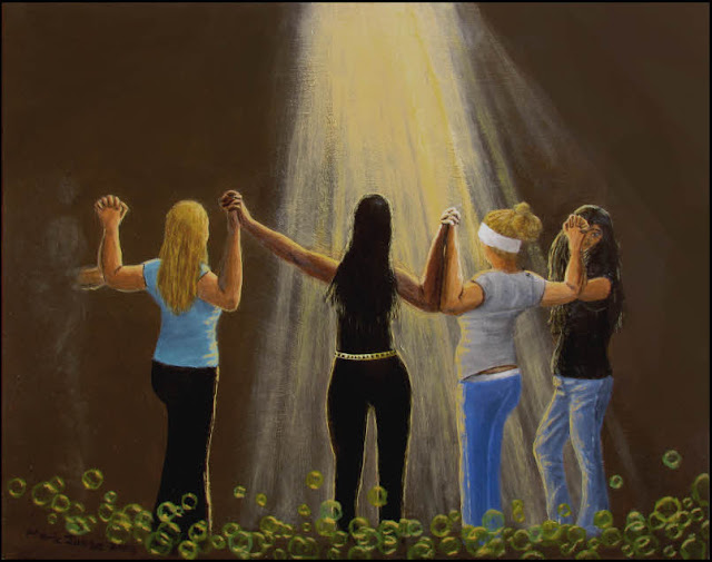 art,painting,surreal,surrealism,surrealistic,women,girls,fingerlock,interracial,light,beam,rays,girls,hold hands
