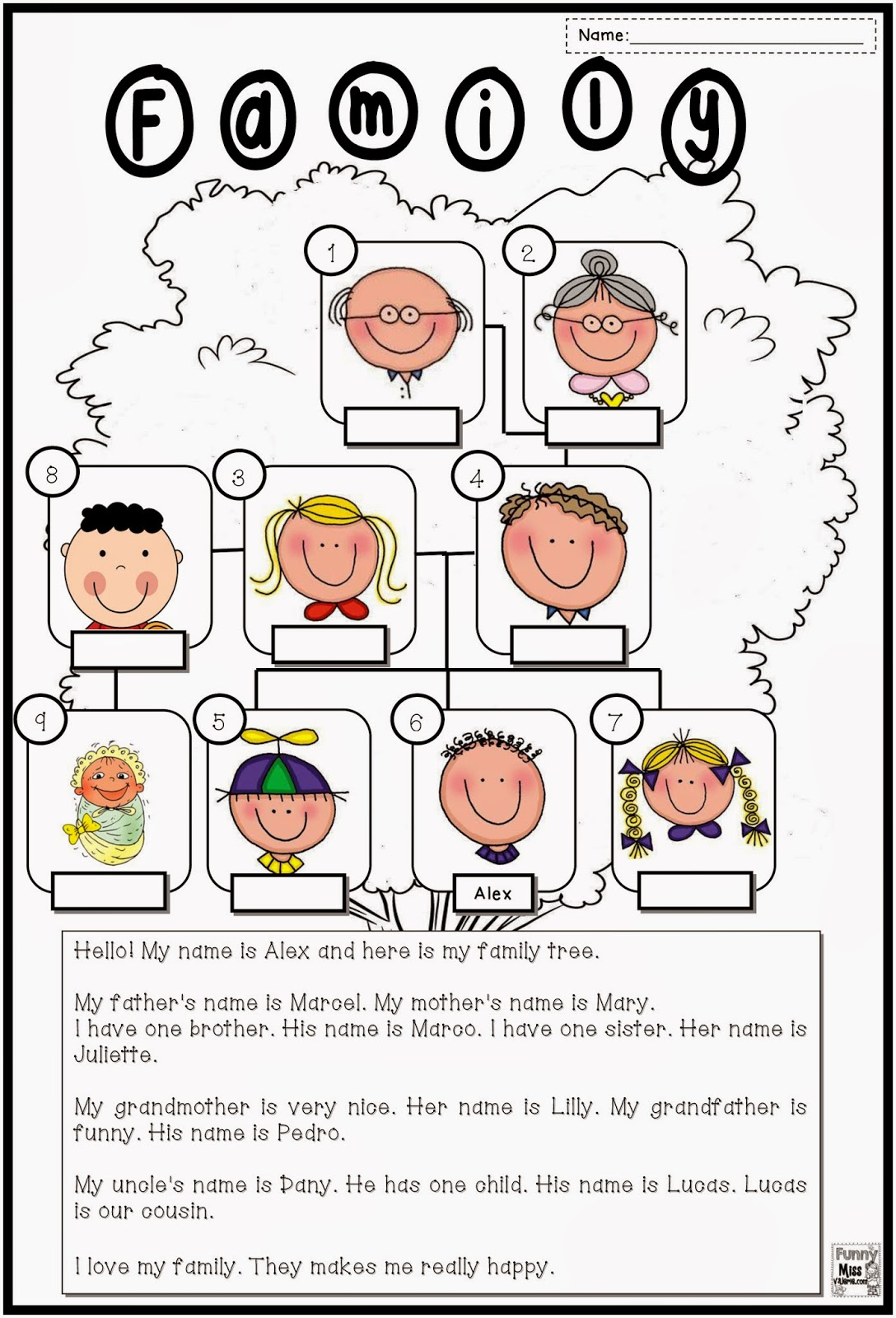 Amazing Family Picture Matching Worksheet