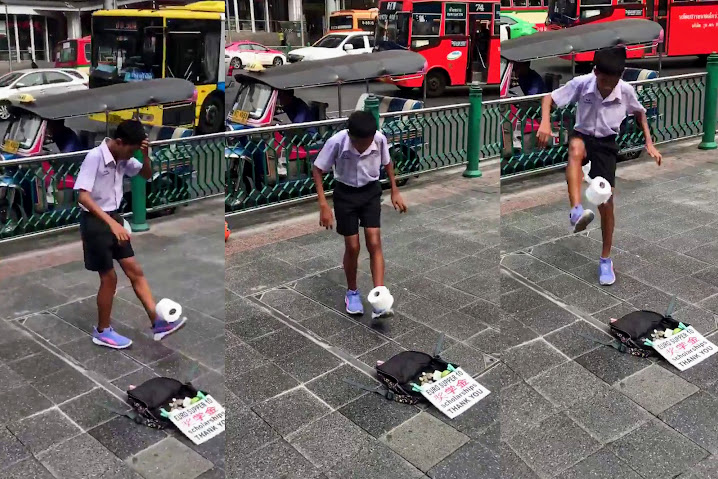 Be mesmerized by Bangkok boy's mad toilet paper football skills — Satang.info