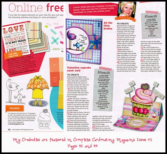 Complete Cardmaking Magazine features Crudoodles Free Digital Stamps
