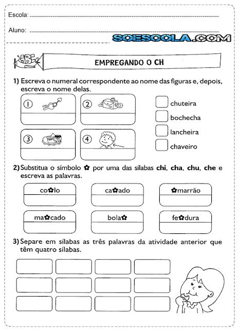 Atividades de ortografia para imprimir