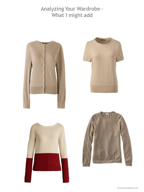 suggested additions to a capsule wardrobe in beige, brown and shades of red