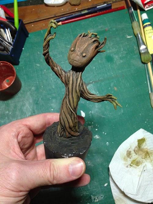 Progress shot of Groot being painted