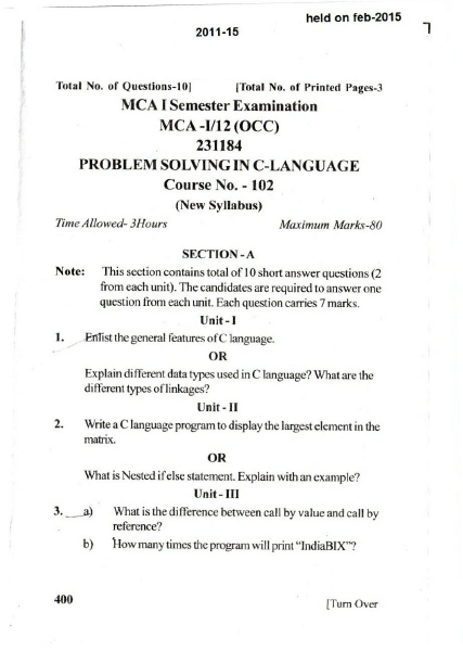 Jammu University: MCA-102 Problem Solving in C-Language 2015
