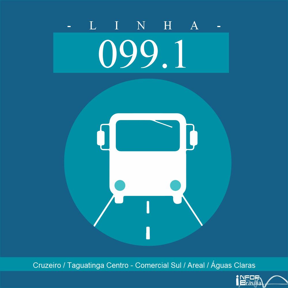 Horário de ônibus e itinerário 099.1 - Cruzeiro / Taguatinga Centro - Comercial Sul / Areal / Águas Claras