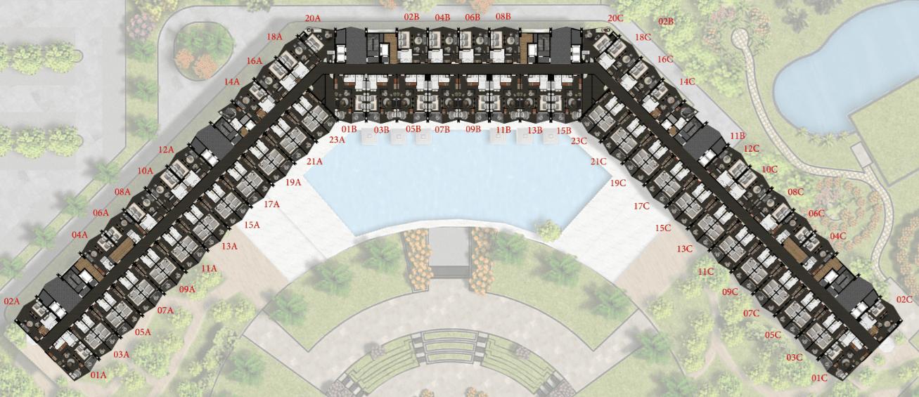 Mặt bằng tầng 4,5,6,7 Condotel 15 tầng FLC Sầm Sơn