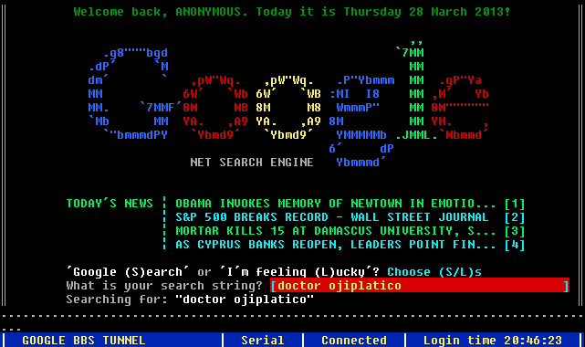 Doctor Ojiplático.Google BBS Terminal – What Google would have looked like in the 80s