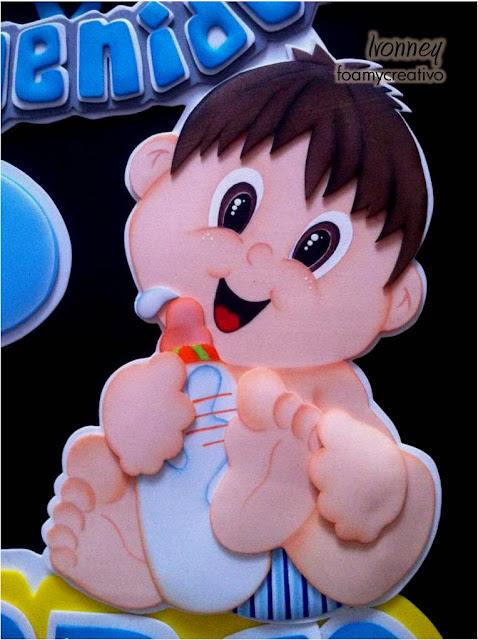 Cartel bebe niño con tetero foami - foamycreativo