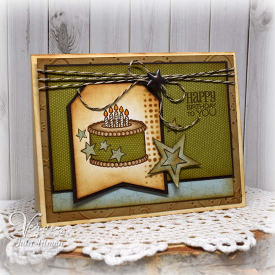 Handmade masculine birthday card by Julee Tilman using Verve Stamps. www.poeticartistry.blogspot.com
