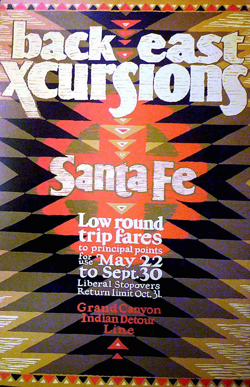 Grand Canyon rail tour poster with indigenous design