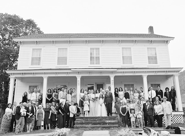 The whole family at Jonna and Heather's Inn at West Settlement Wedding by Karen Hill Photography