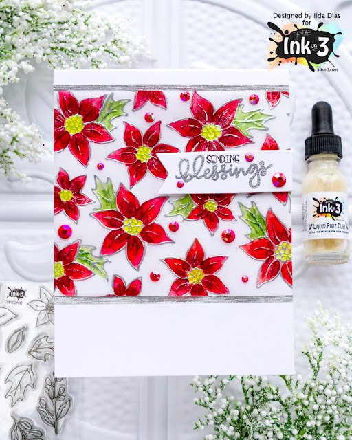 Liquid Pixie Dust on Poinsettia Blessings Card | Ink On 3