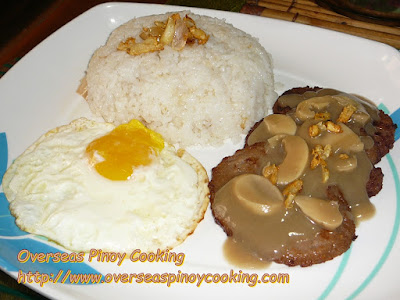 Pinoy Burger Steak  with Rice and Egg