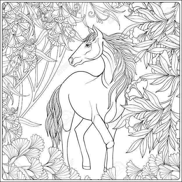 Horse In Garden Illustration Coloring Book For Adult And Older Children  Outline Drawing