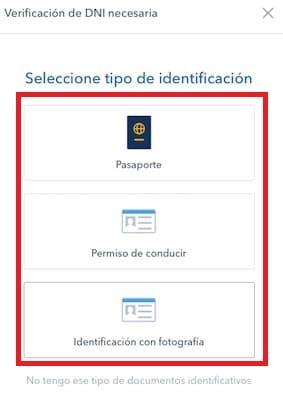 documento identidad, pasaporte, carné conducir en coinbase