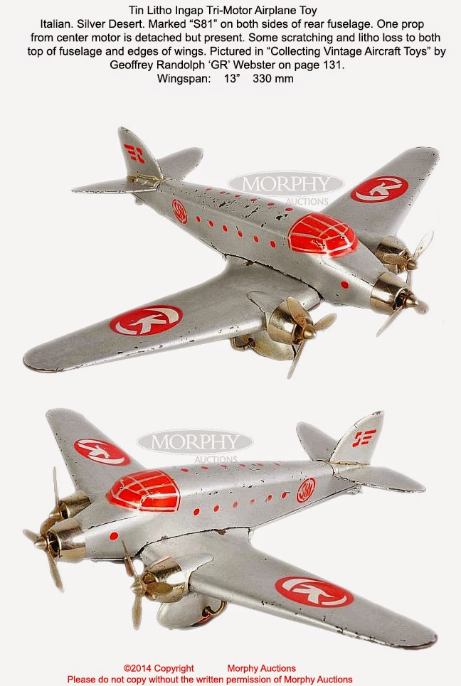 Old Antique Toys The Tri Motor Airplane Toys Part Ii