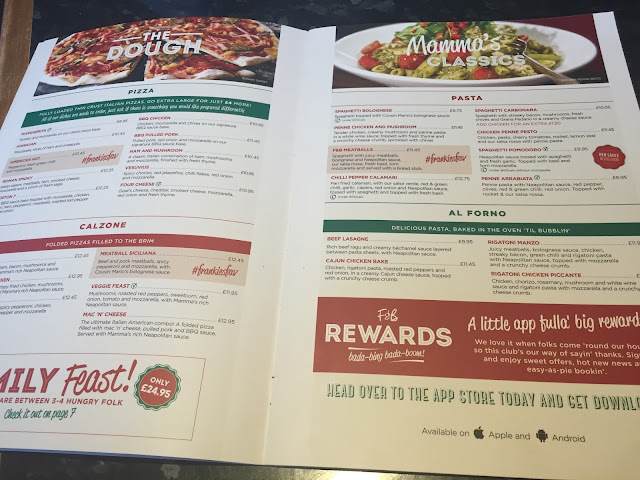 Frankie and Benny's Main Menu