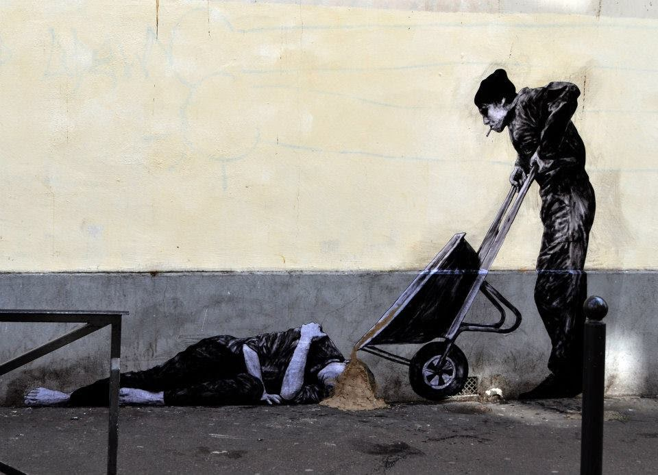 Levalet is back on the streets of his hometown, Paris in France where he just finished working on this new street art piece. 1