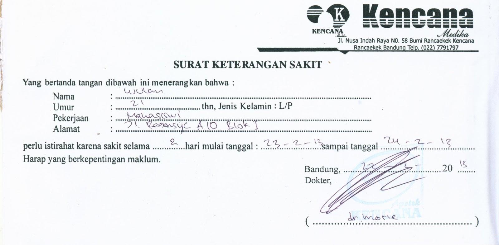Surat Sakit Klinik Bandung