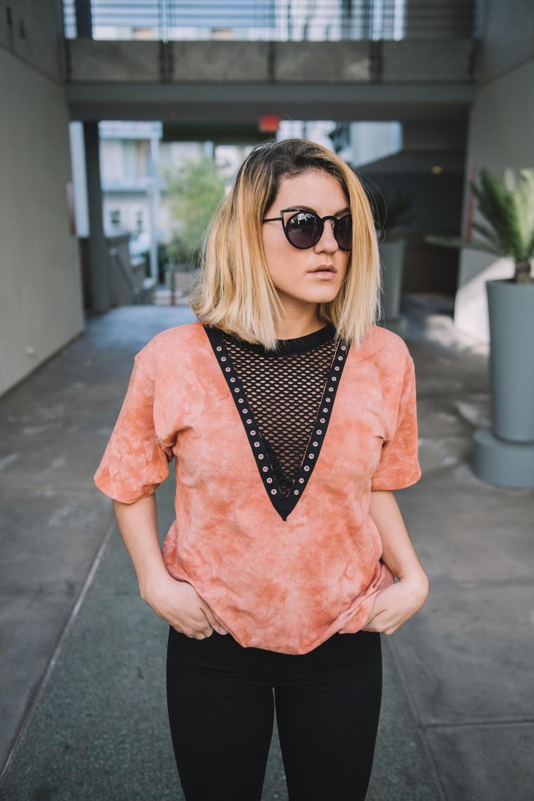 Forever21 Mesh Plunging Tee - Blogger Taylor Winkelmeyer