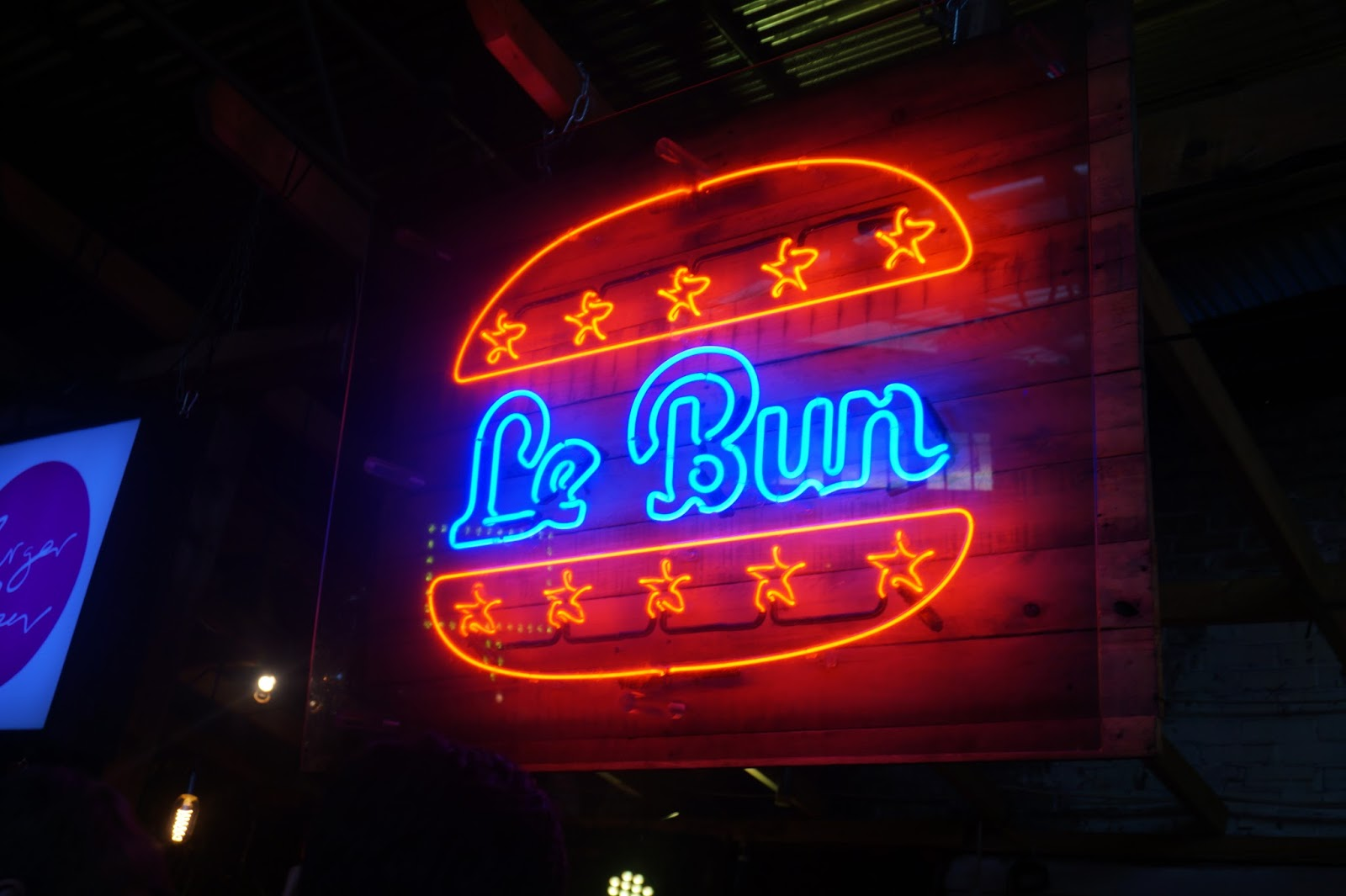 neon sign at burger festival