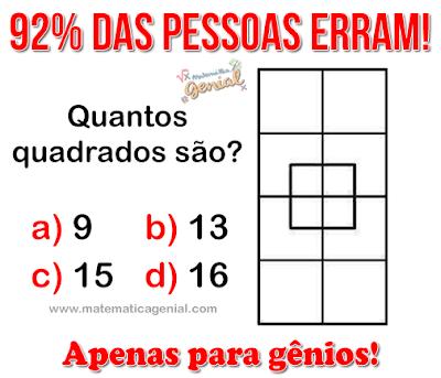 Teste para gênios: Quantos quadrados são?