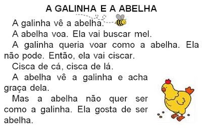 Texto A GALINHA E A ABELHA, de Elisângela Terra