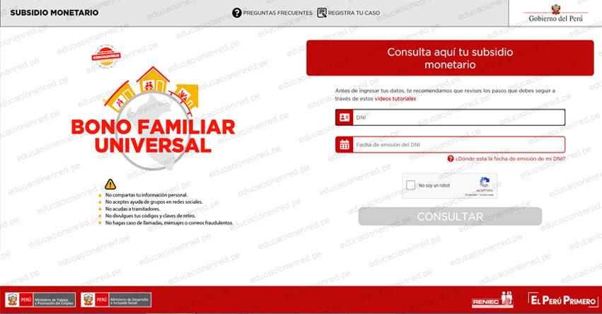 BONO FAMILIAR UNIVERSAL: Hoy se inicia pago de S/ 760 a más de 2.5 millones de hogares [LINK Oficial MIDIS] www.bonouniversalfamiliar.pe