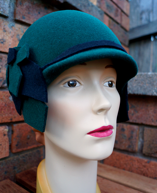 Green and black cloche by Tanith Rowan Designs