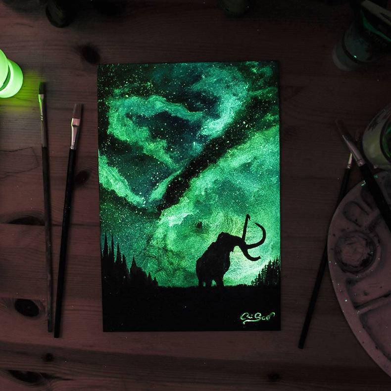 Pinturas deslumbrante que brillan en la oscuridad de Cristoforo Scorpiniti
