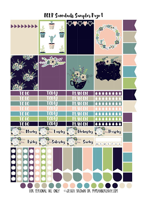 Succulents Sampler Kit for the Vertical Erin Condren on myplannerenvy.com