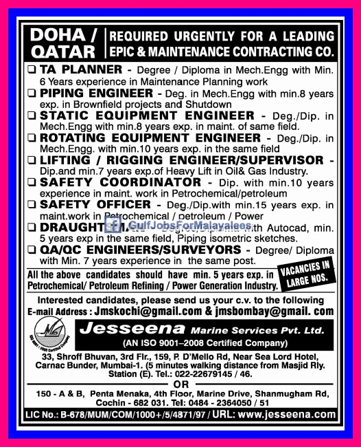 Required For A Leading Maintanance Contracting Company In