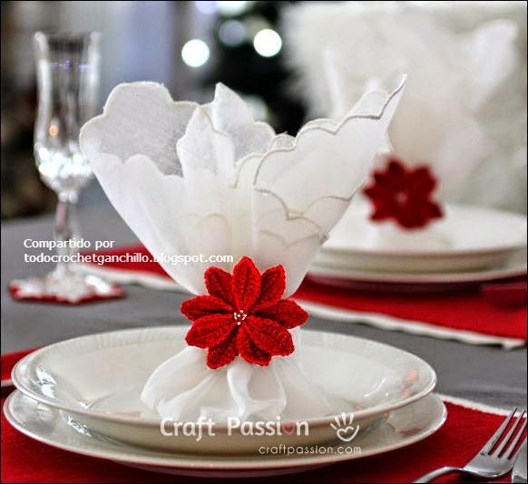 Porta servilleta floral de Navidad