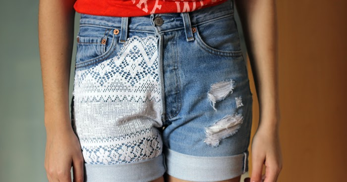 c6a55303850 DIY  Lace denim shorts