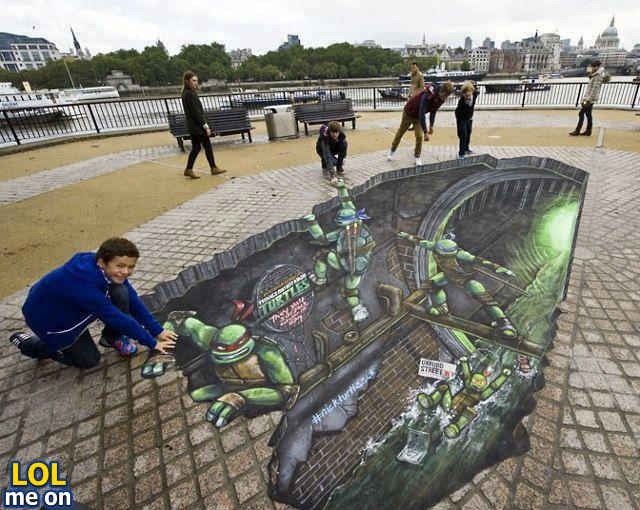 "funny illusion picture shows Ninja Turtles 3D painting from ""LOL me on"""