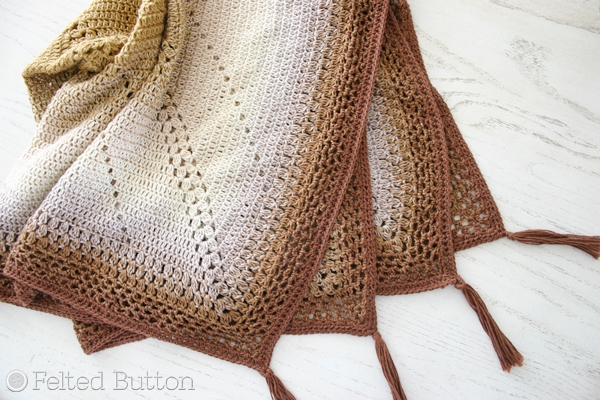 Scheepjes Caramel Whirl Blanket -- free crochet pattern from Susan Carlson of Felted Button