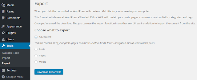 export wordpress blog