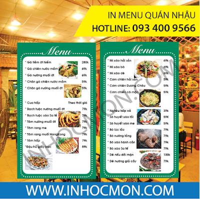 in menu quán nhậu, quán ốc, menu quán ăn