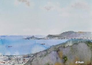 水彩スケッチ 中城湾