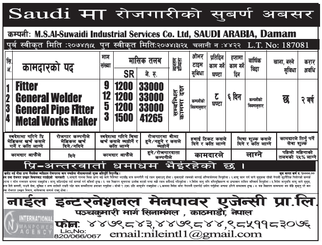 Jobs in Saudi for Nepali, Salary Rs 41,265