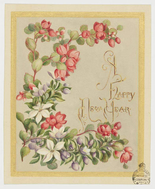 Christmas Card design depicting a floral design of red and white flowers.