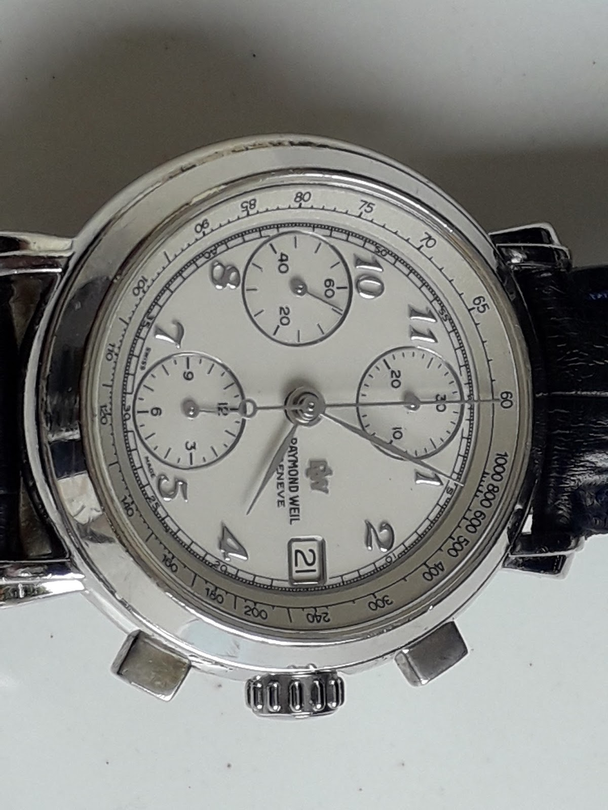 Batavia Jam Raymond Weil Chronograph Cal 7760 Manual Win Sold Charles Jourdan 1016 1312c Hitam Ring Silver Plat Putih