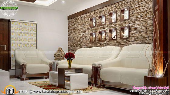 Living room wall decor - Kerala apartment interior