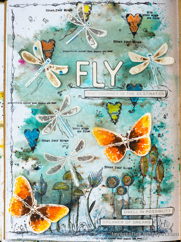 Layers of ink - Butterflies and Dragonflies Tutorial Art Journal Page by Anna-Karin Evaldsson, with AALL & Create stamps by Tracy Evans