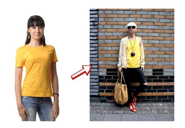 Желтая футболка в разных стилях