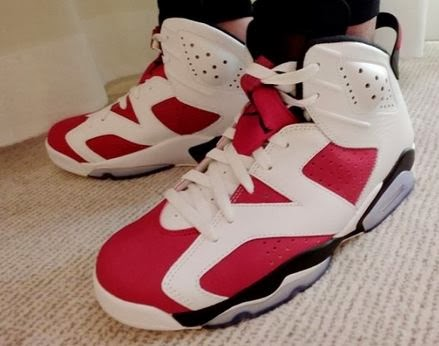"""ef8437e31d31 Here is a look at pics on feet from shoulee81 of the Air Jordan 6 """"Carmine""""  Sneaker releasing on 5 24 for 170 bucks. Peep more images and video from DJ  Delz ..."""